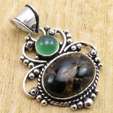 """Green Onyx, Black Copper Turquoise Pendant 1.6"""" ! Silver Plated Fashion Jewelry"""