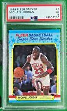 1988 Fleer Sticker Basketball Card #7 Michael Jordan Chicago Bulls PSA 5