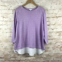 J. Jill Womens Love Linen Purple White 3/4 Sleeve Linen Top Size XL
