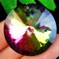 2pcs 30x15mm Faceted Rainbow Titanium Crystal Round Pendant Bead SD201975