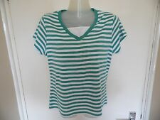 Ladies green and white striped top from Bonmarche size S