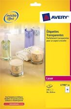 Avery  laser crystal clear labels 25 Sheet Packs L7783