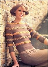 Ladies' 1940s Style 3 Ply Horizontal Ruched Stripes Sweater Knitting Pattern