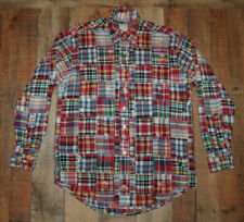 BROOKS BROTHERS PATCHWORK Plaid India Madras L/S Button Front Shirt Men Medium