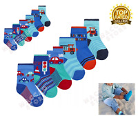 3 Pairs Baby Boys Socks Cotton Rich Novelty Cars & Vehicles Ankle Sock UK