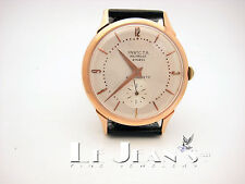 Invicta Vintage 18K Pink Gold Watch Automatic Subdial Second Hands Leather Strap