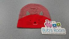 Baby's CAT Cotton Beanie Hat  ~RED & GREY STRIPE~ New Born