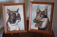 Set Vtg 2 Pair Dog Paintings PBN Number  Boxer  German Shepherd Paintings Framed