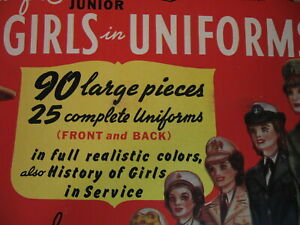 1943 Bild-A-Set Girls in Uniforms Uncut Paper Dolls NOS