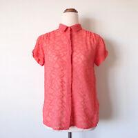 GORMAN Coral Pink Silk Cotton Button Up Shirt Top Sheer Textured Size 8 S Summer