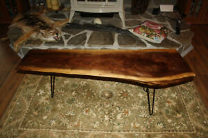 Live Edge Walnut Coffee Table with Steel Legs..