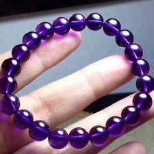 Genuine Natural Purple Amethyst Round Bead Women Bracelet 8mm