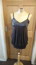 Women's Bubble Hem Vest Top By Rare Clothing Size 12 Brown (S1)
