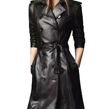 Womens Winter Soft Belted Long Sleeved Celebrity Leather Trench Coat Sz 18 Black 16