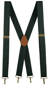 """Buyless Fashion Men Adjustable Suspenders 48"""" 1 1/4"""" X Back with Metal Hooks"""