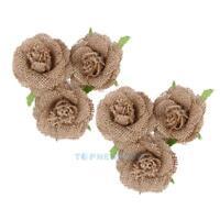 6X Natural Jute Hessian Flower Handmade Burlap Rose Vintage Wedding TN2F