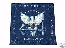 RRL Double Ralph Lauren Eagle Anchor Blue Indigo Japan Cotton Square Scarf Bag