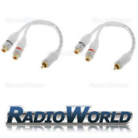 RCA Y Splitter Lead/Adapter 2 x Female TO 1 x Male Pair White High Quality Cable