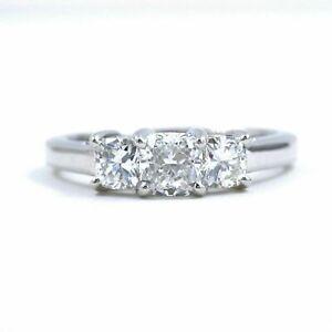 Blue Nile 3 Stone Platinum Diamond Engagement Ring Cushions0.96 tcw $6775 Retail