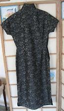 XS-S 1945-50 VTG Qipao Cheong Sam Chinesisch Kleid-Seide Blumenmuster in schwarz grau