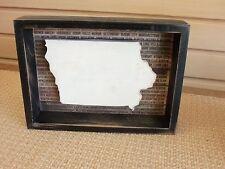 Iowa wood box wall hanging black- NEW