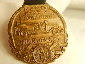 1938 FIREMENS ASSOCIATION Pocket Watch STRAP FOB UNIONTOWN PA Detailed