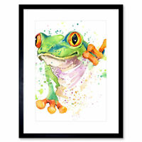 Watercolour Frog Bright Framed Wall Art Print 12X16 In