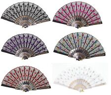 Set of 6 Assorted Chinese Lace Floral Hand Folding Fans Party Gift US Seller