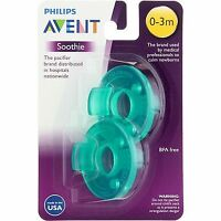 3 Pack Phillips Avent Soothie Pacifier, 0-3 months, Green, 2 Ct