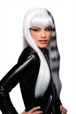Womens Kitty Cat Wig White Black Striped Streaked Raccoon Sexy Long Hair Adult