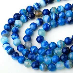20Pcs Natural Blue Striped Agate Round Carnelian Loose Beads Spacer Stone