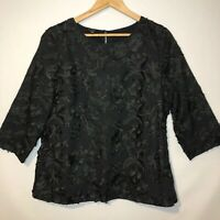 Talbots Embroidered Black Blouse Womens Size 14 3/4 Sleeve