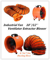 8/10/12 in Extractor Fan Blower portable 5m Duct Hose High Rotation air mover