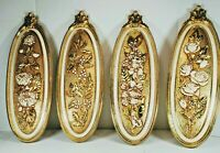 4 Piece Syroco Dart Floral Wall Art, 1974 Oval Wall Plaques, Ivory Florals