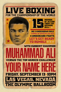 YOUR NAME on a Boxing champ poster vs Muhammad Ali - personalized & cool