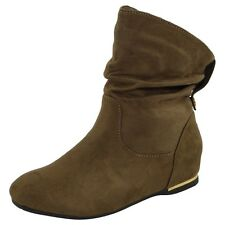 NEW WOMENS LADIES FLAT FAUX SUEDE SLOUCH LOW HEEL WEDGE ANKLE BOOTS SHOES SIZE