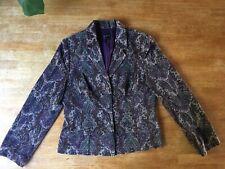 East Jacket Blazer Velvet Paisley Boho Arty Purple Wedding Size 14 Fully Lined