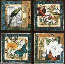 Panel Square Designer Patchworkstoff Vögel Blumen Stoff Patchwork Schmetterlinge