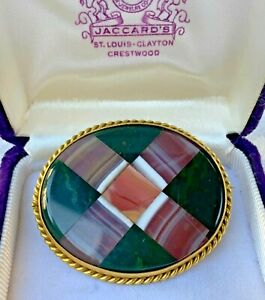 Antique Victorian c1890 Large Pinchbeck Scottish Agate Pebble Cross Brooch