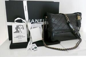 Chanel Black Leather Med Gabrielle Hobo Bag Tri-Color Chains Boxed Full Set
