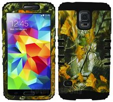 Black Dry Leaves Camouflage Hybrid Impact Cover for Samsung Galaxy S5 Phone Case