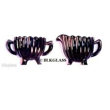 Imperial Black Glass Creamer And Sugar - Pillar And Flute Pattern