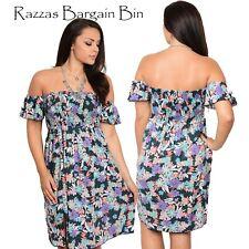 New Ladies Floral Off The Shoulder Dress Plus Size 16/2XL (1139)PD