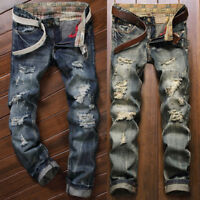 Vintage Men Straight Ripped Jeans Skinny Denim Pants Destroyed Frayed Trousers