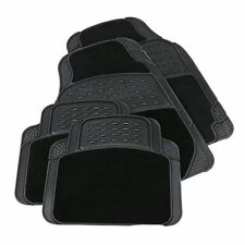 4pc Car Mat Set Black Rubber with Carpet Floor Mats Heavy Duty Universal 81076C
