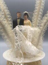 """Vintage 60's Wedding Cake Topper~Brunette Bride & Groom W/ Lace 11"""""""