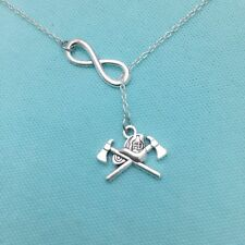 FIREFIGHTER Axes & Helmet Charm with Infinity Silver Necklace Lariat Style.