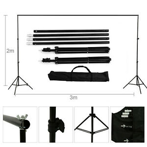 10Ft Heavy Duty Adjustable Photography Background Support Stand Kits + Carry Bag