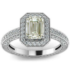 Diamond Engagement 925 Silver Ring 2.85.Ct Vs1;Off White Emerald Moissanite