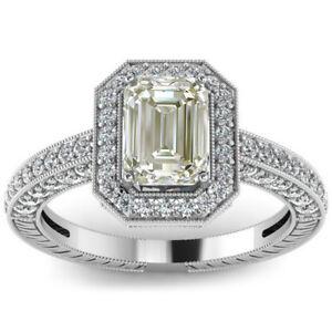 2.35 Ct Vs1.OFF WHITE EMERALD Real MOISSANITE DIAMOND Engagement 925 SILVER RING